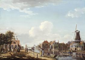 Dutch Canal Scene with Elegant Figures and a Mill