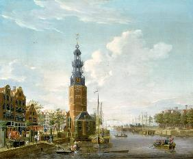 View of Amsterdam with the Montelbaanstower on the Oude Schans