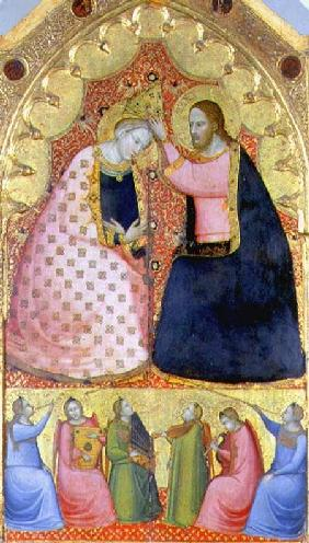 Coronation of the Virgin, altarpiece with a predella panel depicting angels playing musical instrume