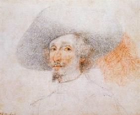 Head of man wearing a large plumed hat