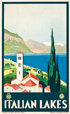 Poster advertising Italian lakes