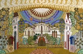 Stage design for the opera The Legend of the Invisible City of Kitezh and the Maiden Fevronia by N.