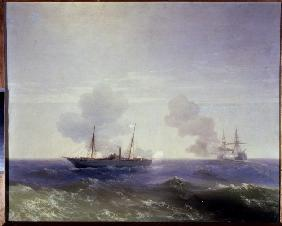 The naval battle between the Russian cruiser Vesta and the Turkish ironclad Fethi Bulend at the Blac