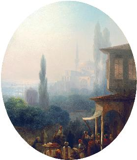 A market scene in Constantinople, with the Hagia Sophia beyond