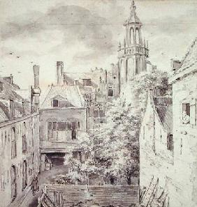 View of the Courtyard of the House of the Archers of the St. Sebastian Guild on the Singel in Amster