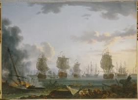 The Return of the Russian fleet after the naval Battle of Chesma