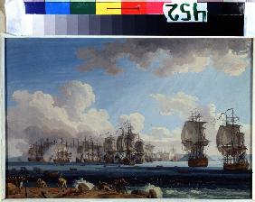 The naval Battle of Chesma on 5 July 1770