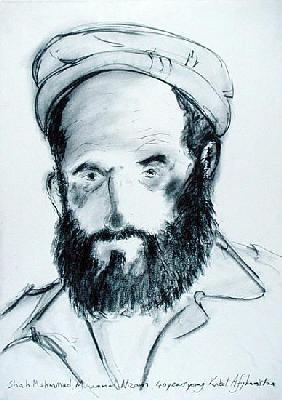 Shah Mahmmad, Muhammed Nizam, 40 Years Young, Kabul, Afghanistan, 2002 (charcoal on paper)