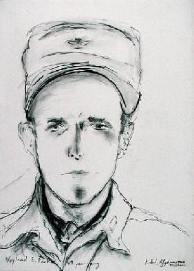 Wayland E. Parker, Kabul, Afghanistan, 18th February 2002 (charcoal on paper)