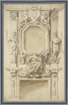 Richly ornamented fireplace