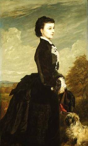 Portrait of a Lady in Black with a Dog