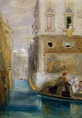 The Gondola, Venice, with Santa Maria della Salute in the Distance, 1865 (w/c