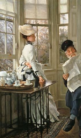 J.J.J.Tissot, Reading the News, c.1874