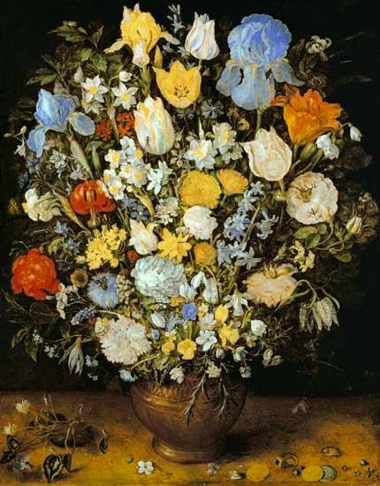 Bouquet De Fleurs Dans Un Vase En Terre Peinture Huile Sur Toile De Jan Brueghel L Ancien En