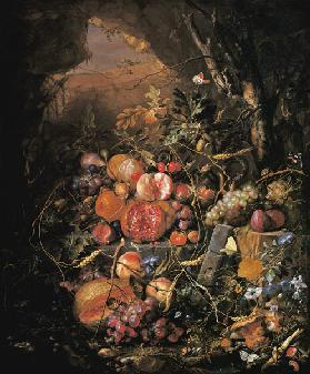 Still-life with fruit, flowers, mush– rooms, insects, snail