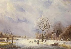 Winter Canal Scene, 19th century