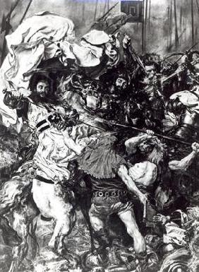 The Battle of Grunwald on 15th July 1410, detail depicting the death of the Grand Master Ulrich von