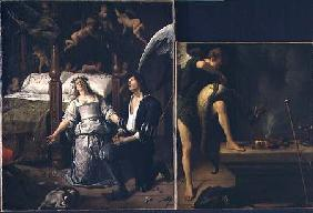 Tobias and Sarah with the Archangel Raphael exorcising the demon Asmodeus, reassembled from two sepa