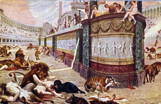 Postcard depicting the bloody games in t - Jan Styka en reproduction  imprimée ou copie peinte à l'huile sur toile