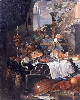 Still life of food and musical instruments