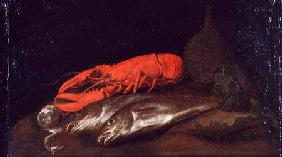 A Still Life of a Lobster and Fish on a Table
