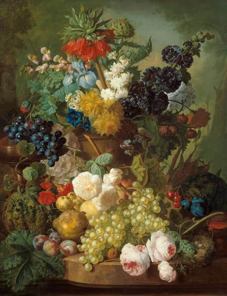 nature morte avec des fruits et des fleurs
