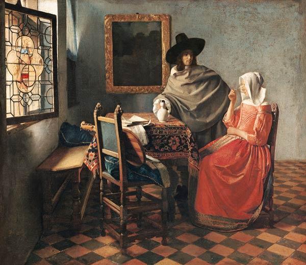 Le Verre De Vin Peinture Huile Sur Toile De Jan Vermeer Van Delft En Reproduction Imprimee Ou Copie Peinte A L Huile Sur Toile
