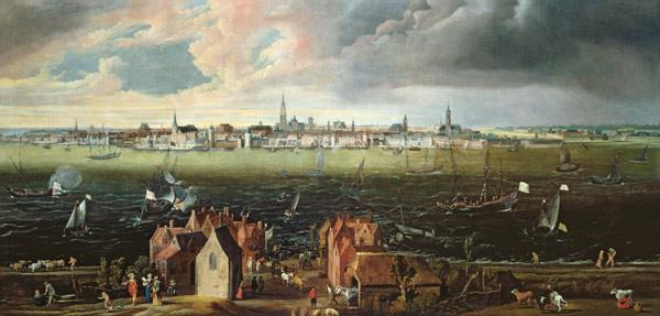 View of Antwerp from the River Schelde