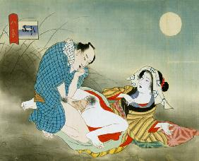 Couple Making Love in the Moonlight (w/c on silk)