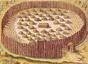 Fortified Indian Village, from ''Brevis Narratio...'', published by Theodore de Bry, 1591(detail of