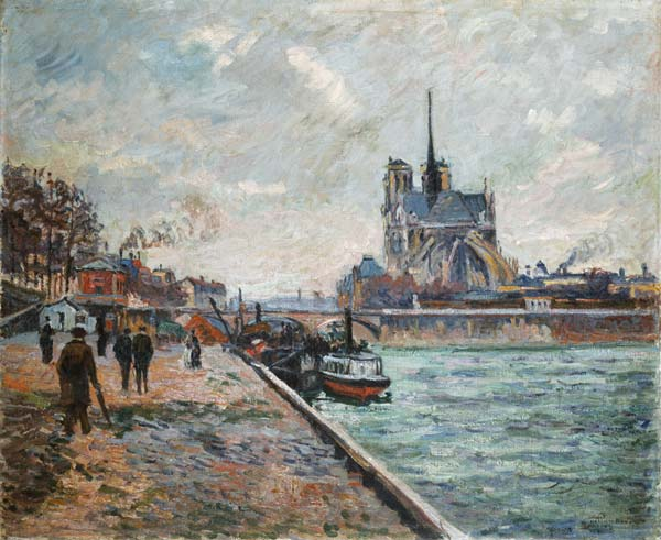 quai de seine paris avec une vue sur notre dame jean baptist armand guillaumin. Black Bedroom Furniture Sets. Home Design Ideas