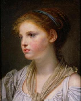 Girl with a Blue Ribbon (oil on canvas)