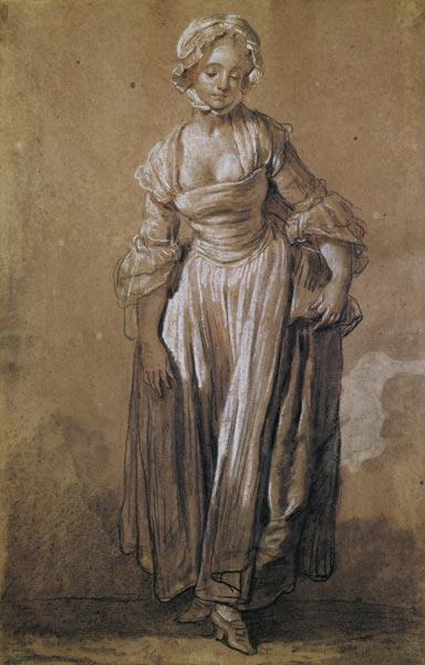 Standing Young Girl, study for ''The Village Agreement'' (charcoal & white chalk on paper)