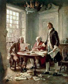The Drafting of the Declaration of Independence in 1776: (LtoR) Benjamin Franklin (1706-90)