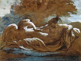 Leda and the Swan (black chalk and w/c)