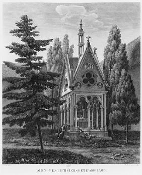 Tomb of Heloise and Abelard, Musee des Monuments Francais, illustration from ''Vues pittoresques et