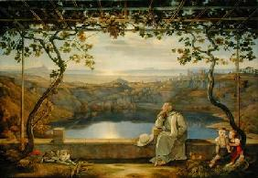 A Monk on a Terrace at the Nemi Lake