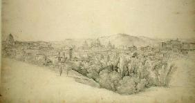 View from the Sabine hills over Tivoli in Campania with the gorge of the Anio on the right (pencil w