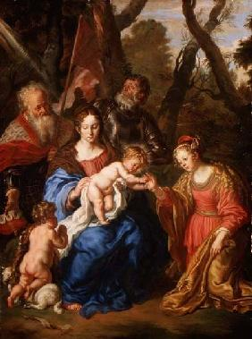 The Mystic Marriage of St. Catherine, with St. Leopold and St. William