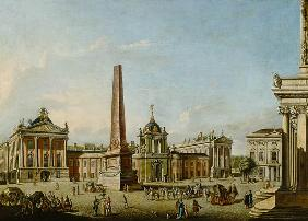 View of the Old Market and the Front Gate of the Schloss Sanssouci