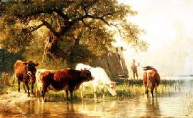 Cattle Watering in a River Landscape