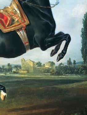A black horse performing the Courbette (detail of 65652)