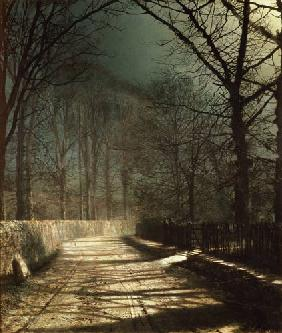 Grimshaw, John Atkinson : A Moonlit Lane, with two l...