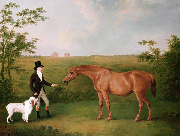 A Gentleman with a White Dog and a Chestnut Mare in a Landscape