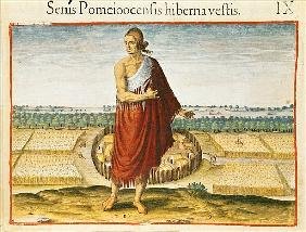 Pomeiooc Elder in a winter garment, from ''Admiranda Narratio'', published  by Theodore de Bry