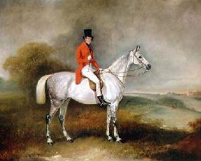 Charles Neil Hogg on his hunter 'Alice Grey', Ormely Hall, Leicestershire