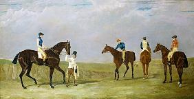 "Preparing to start for the Doncaster Gold Cup, 1825, with Mr. Whitaker's ""Lottery"", Mr. Craven's ""Lo"