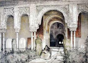 Entrance to the Hall of the Two Sisters (Sala de las dos Hermanas), from 'Sketches and Drawings of t