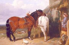 Carthorses by a Cottage Door