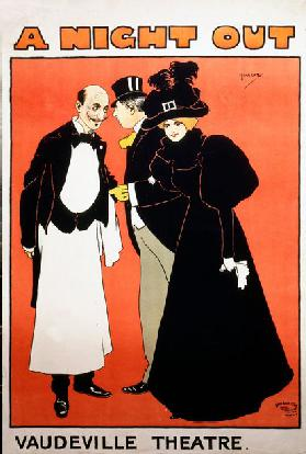 Poster for a Night Out at Vaudeville Theatre (colour litho)